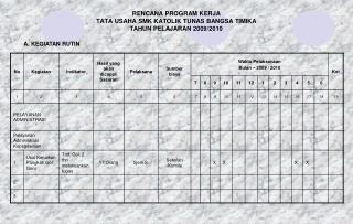 RENCANA PROGRAM KERJA  TATA USAHA SMK KATOLIK TUNAS BANGSA TIMIKA TAHUN PELAJARAN 2009/2010