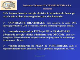 Societatea Nationala NUCLEARELECTRICA S.A . -  Romania -