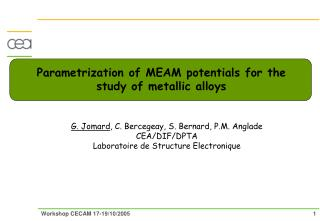 Parametrization of MEAM potentials for the study of metallic alloys