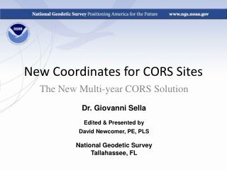 New Coordinates for CORS Sites