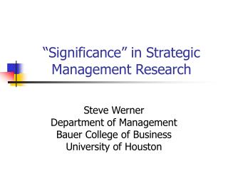 """Significance"" in Strategic Management Research"