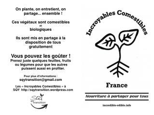 On plante, on entretient, on partage... ensemble! Ces végétaux sont comestibles et biologiques
