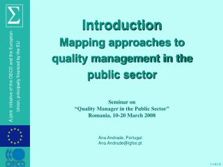 Introduction Mapping approaches to quality management in the public sector