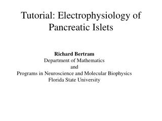 Tutorial: Electrophysiology of Pancreatic Islets