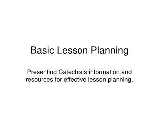 Basic Lesson Planning