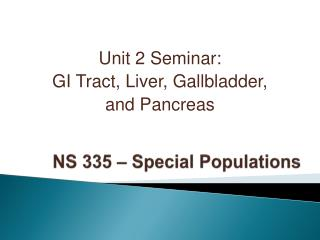 NS 335 – Special Populations