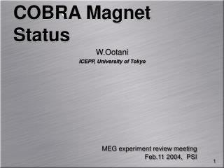 COBRA Magnet Status