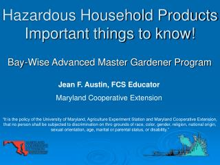 Hazardous Household Products Important things to know!