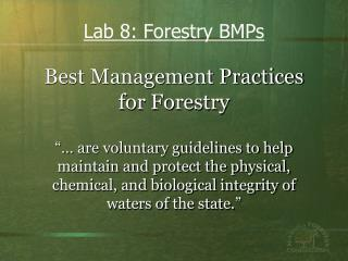 Best Management Practices for Forestry