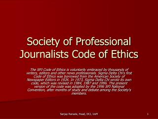 Society of Professional Journalists Code of Ethics