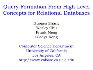 Query Formation From High-Level Concepts for Relational Databases
