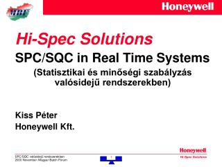 Hi-Spec Solutions SPC/SQC in Real Time Systems