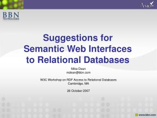 Suggestions for Semantic Web Interfaces to Relational Databases