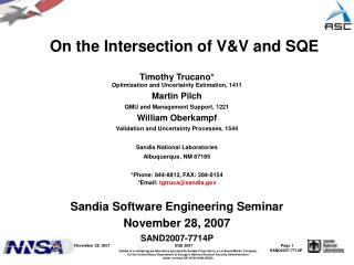 On the Intersection of V&V and SQE