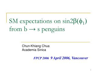 SM expectations on sin2 b(f 1 )  from b → s penguins