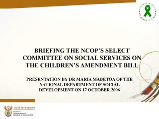 BRIEFING THE NCOP'S SELECT COMMITTEE ON SOCIAL SERVICES ON THE CHILDREN'S AMENDMENT BILL