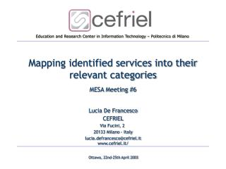 Mapping identified services into their relevant categories