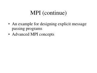 MPI (continue)