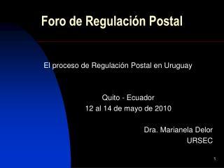 Foro de Regulación Postal