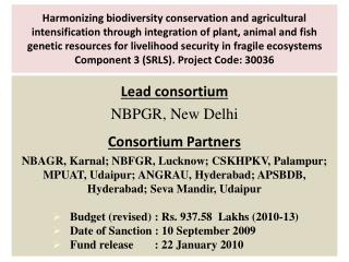Lead consortium NBPGR, New Delhi Consortium Partners