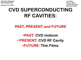 CVD SUPERCONDUCTING RF CAVITIES: PAST, PRESENT and FUTURE