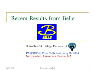 Recent Results from Belle