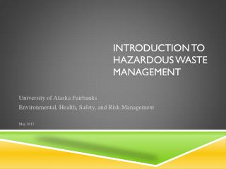 Introduction to Hazardous Waste Management