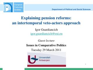 Explaining pension reforms: an intertemporal veto-actors approach