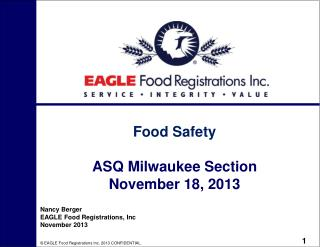 Food Safety ASQ Milwaukee Section November 18, 2013