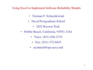 Using Excel to Implement Software Reliability Models