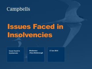 Issues Faced in  Insolvencies