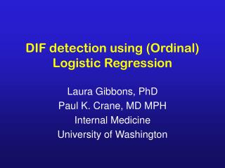 DIF detection using (Ordinal) Logistic Regression