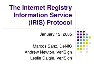 The Internet Registry Information Service (IRIS) Protocol