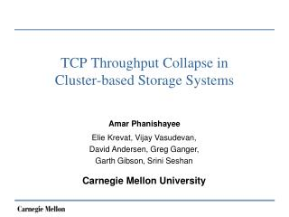 TCP Throughput Collapse in  Cluster-based Storage Systems