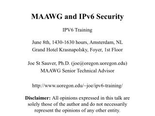 MAAWG and IPv6 Security