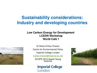 Sustainability considerations: Industry and developing countries