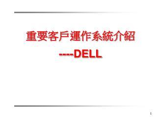 重要客戶運作系統介紹 ---- DELL