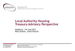 Local Authority Housing  Treasury Advisory Perspective