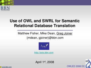 Use of OWL and SWRL  for Semantic  Relational Database Translation