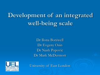 Development of an integrated well-being scale