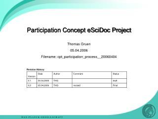 Participation Concept eSciDoc Project