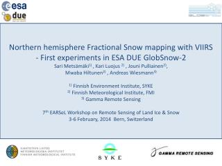 Northern hemisphere Fractional Snow mapping with VIIRS - First experiments in ESA DUE GlobSnow-2