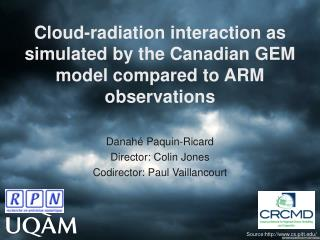 Cloud-radiation interaction as simulated by the Canadian GEM model compared to ARM observations
