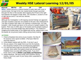 Weekly HSE Lateral Learning 12/01/05