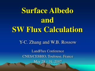 Surface Albedo  and  SW Flux Calculation