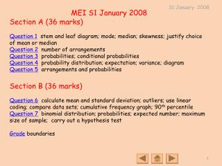 MEI S1 January 2008 Section A (36 marks)