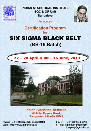 INDIAN STATISTICAL INSTITUTE SQC & OR Unit Bangalore