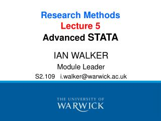 Research Methods Lecture 5 Advanced  STATA