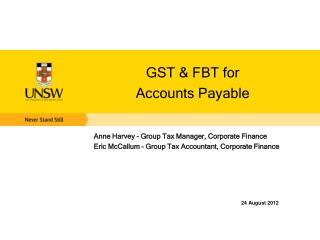 GST & FBT for  Accounts Payable