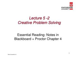Lecture 5 -2 Creative Problem Solving